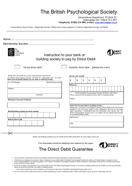 Direct Debit Mandate - British Psychological Society
