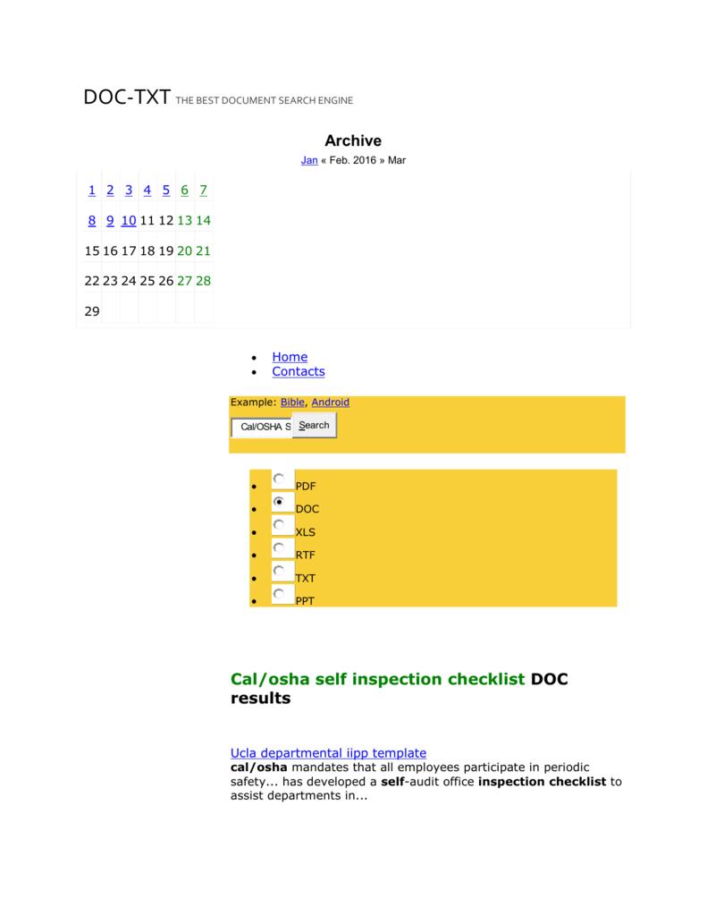 Calosha self inspection checklist doc documents doc txt maxwellsz