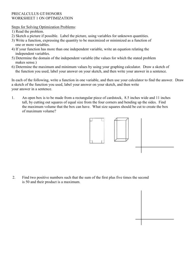 Worksheet 1 On Optimization - Livinghealthybulletin