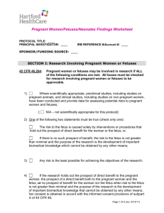 Subpart B – Pregnant Women/Neonates/Fetuses Findings Worksheet