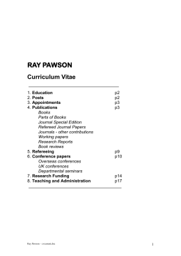 RAY PAWSON - Research Curriculum Vitae