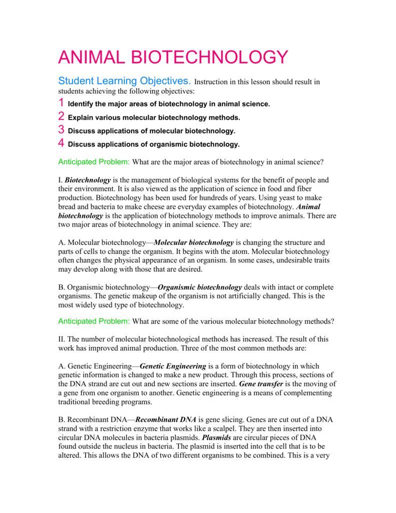 worksheet Biotechnology Worksheet bsaa animal biotechnology worksheet