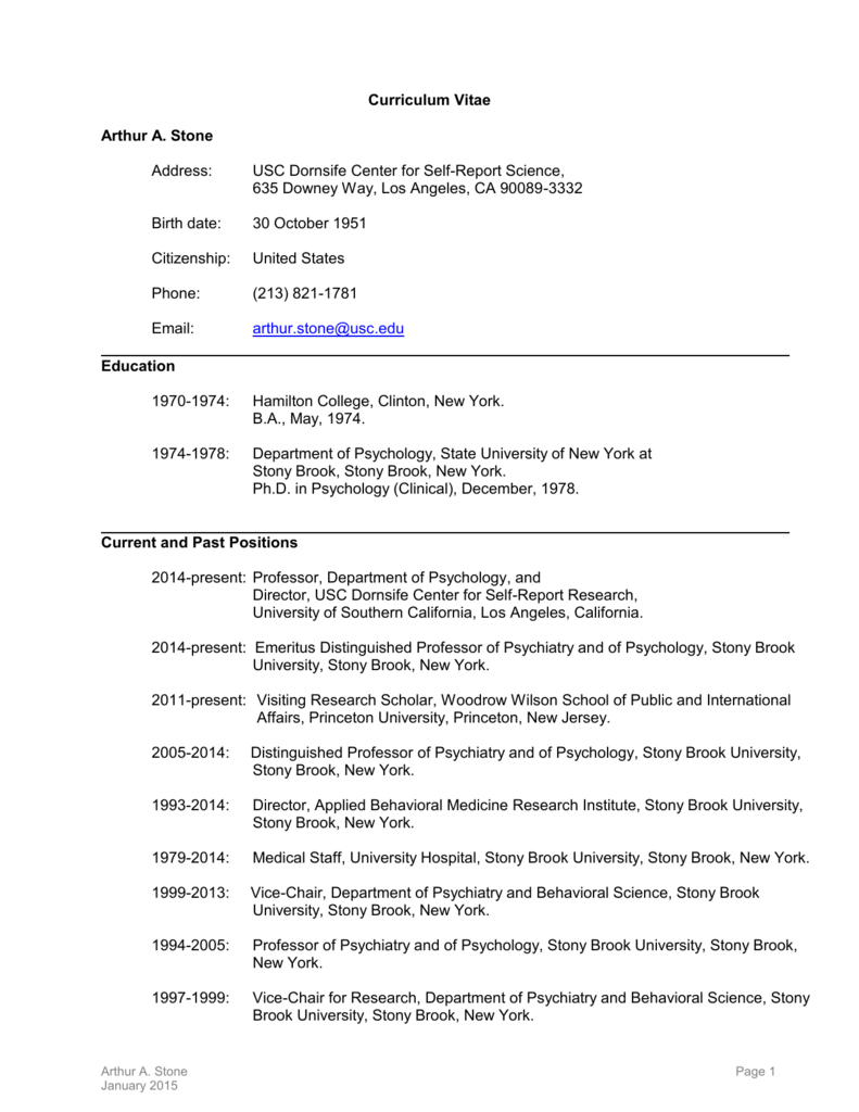 Usc Academic Calendar 2014-2019 Curriculum Vitae   USC Dana and David Dornsife College of Letters