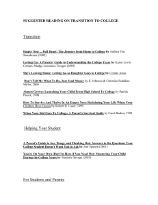 Click to a copy of college transition suggested readings.