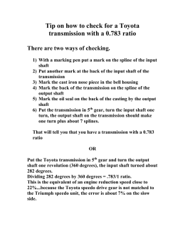 Tip on how to check for a W58 Toyota transmission