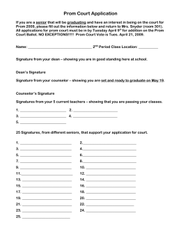 Prom Court Application 2009