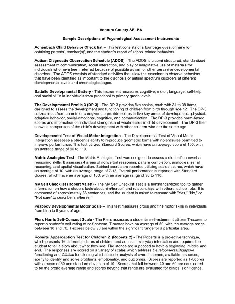 Sample Descriptions of Psychological