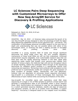 LC Sciences Pairs Deep Sequencing with Customized Microarrays