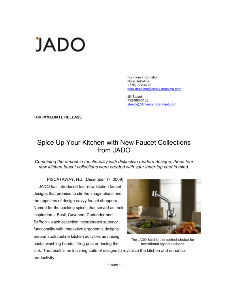 Spice Up Your Kitchen with New Faucet Collections from JADO