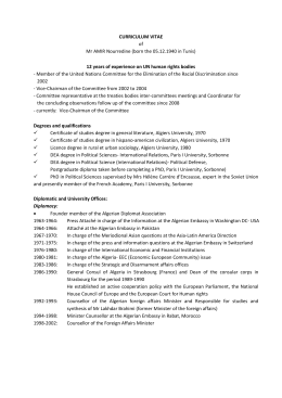 CURRICULUM VITAE of Mr AMIR Nourredine (born the 05.12.1940