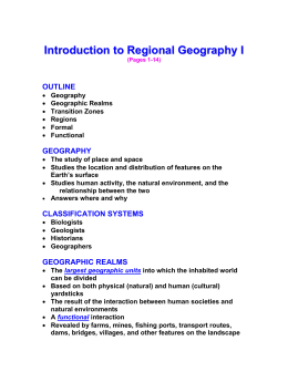 Introduction to Regional Geography I