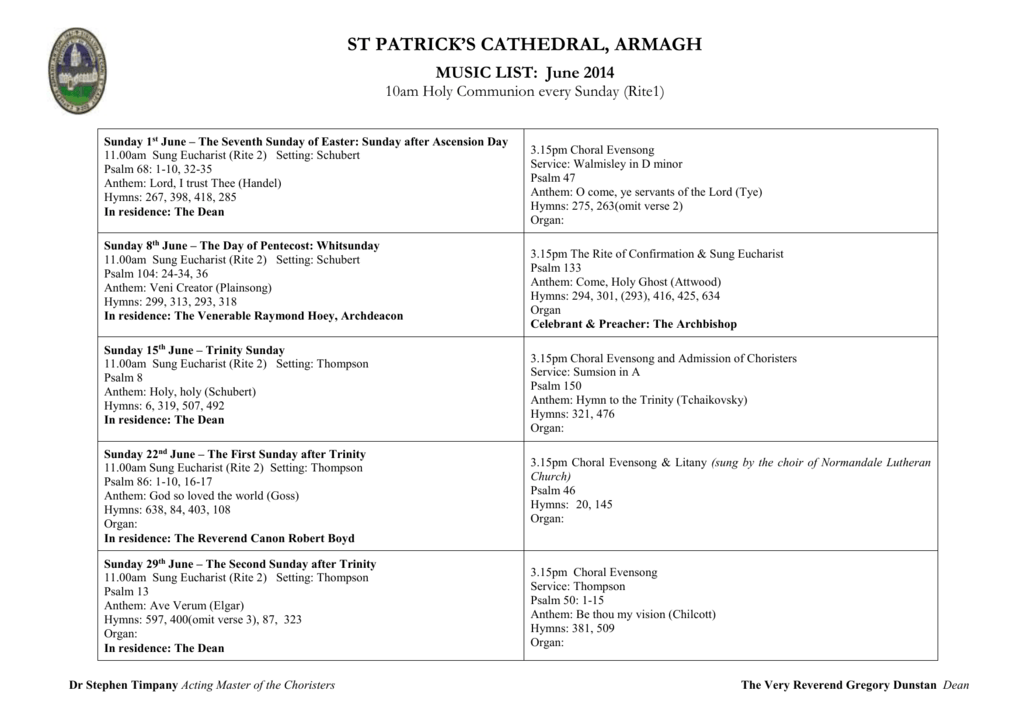 Cathedral Service Sheet June 2014