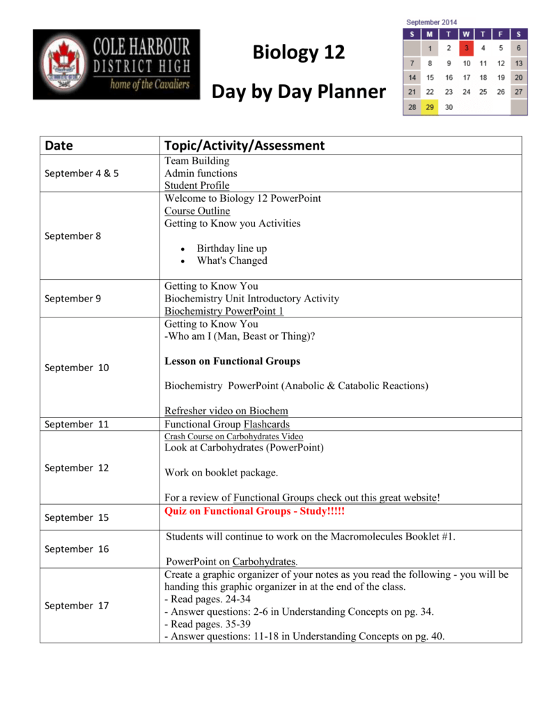 Biology 12 Day by Day Planner Date Topic/Activity/Assessment