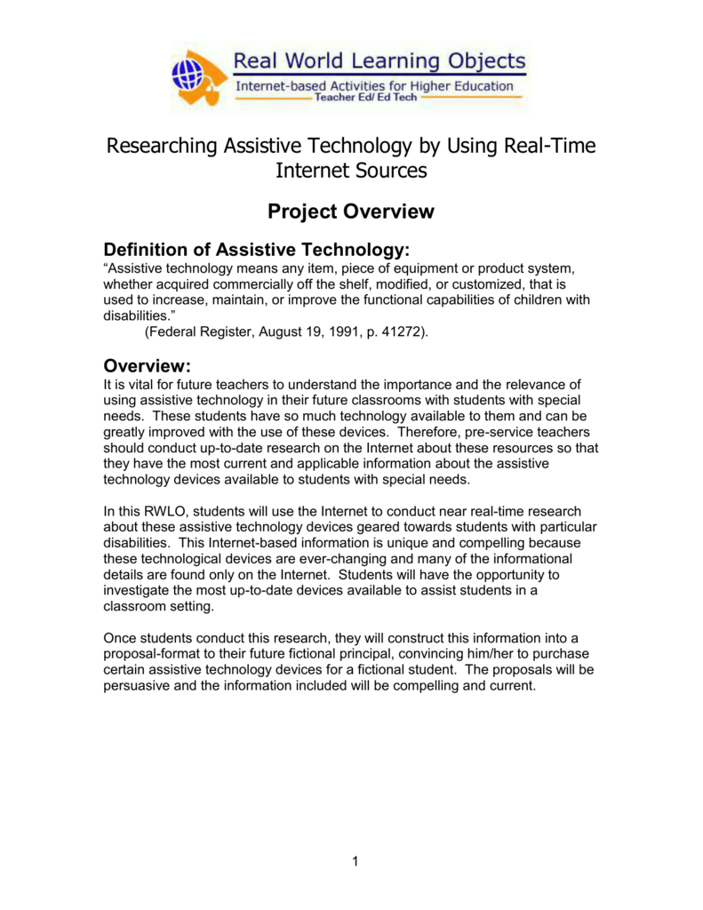 researching assistive technology by using real