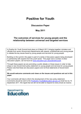 Rationale and outcomes for services for young people