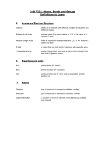 AS Chemistry - Module 1 Definitions
