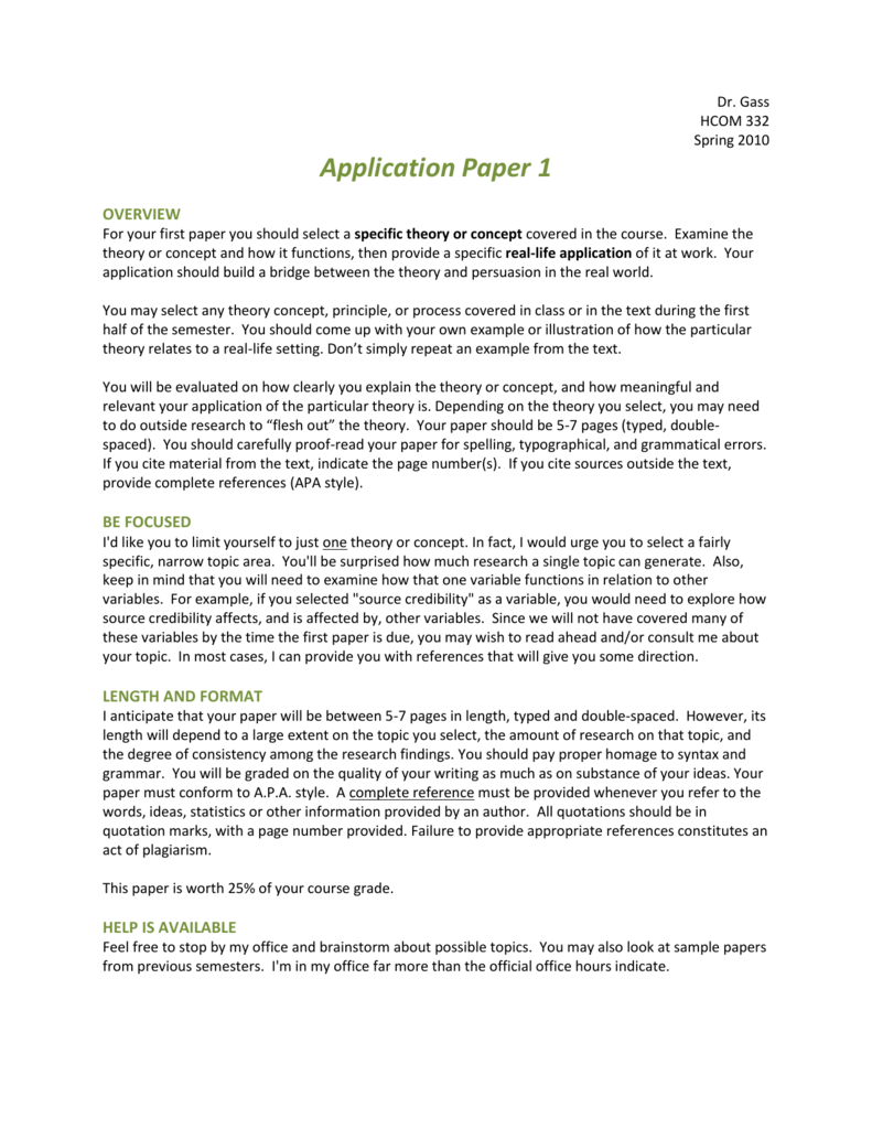 application paper example