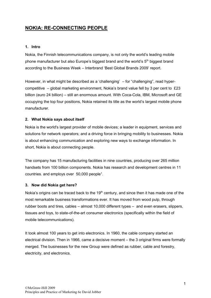 Nokia Case Study Outline Notes