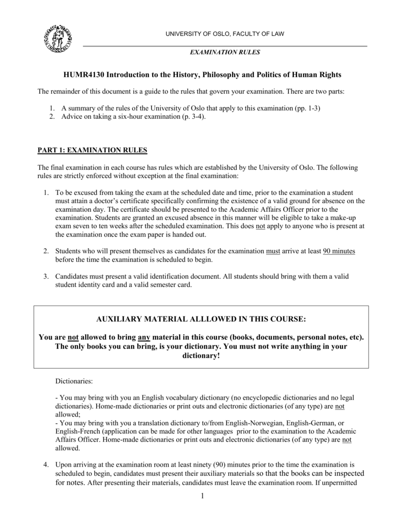 Examination rules and auxiliary materials during the exam