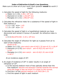 Index of Refraction & Snell`s Law Questions – After Textbook