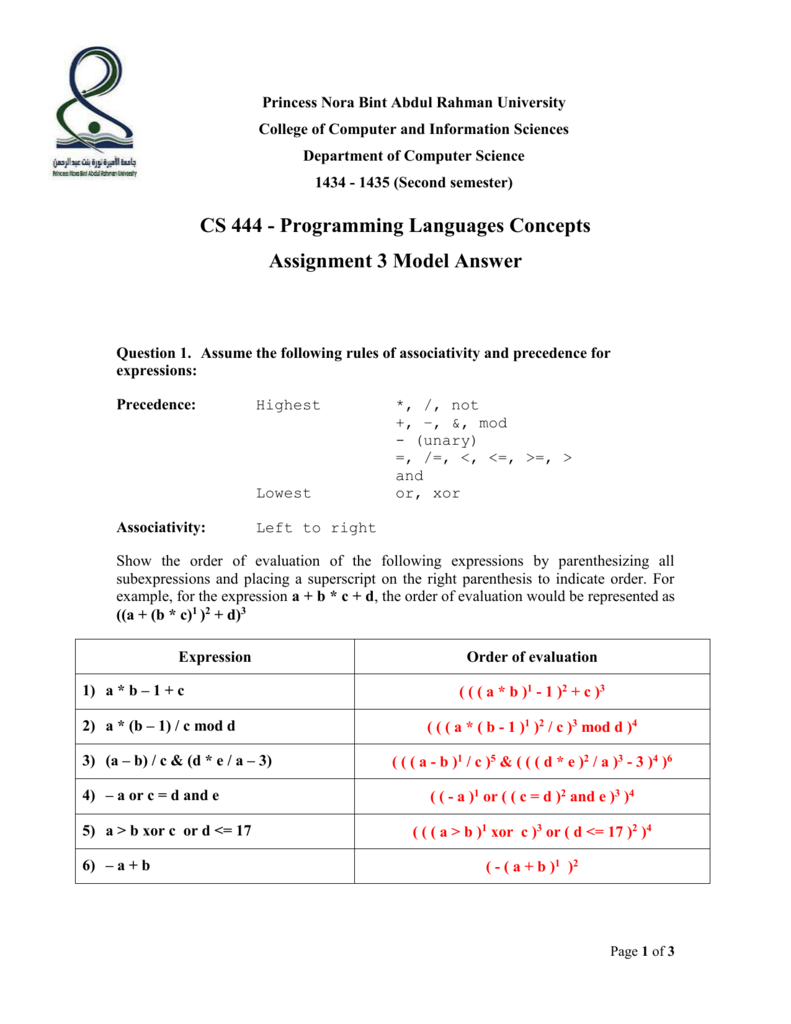 Assignment 3 with answers