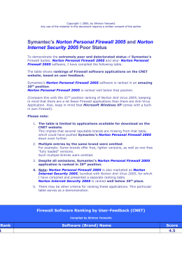Symantec`s Norton Personal Firewall 2005 and Norton Internet