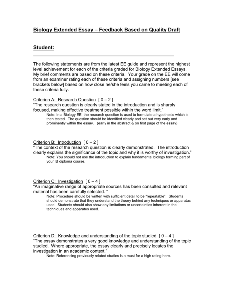 Biology Extended Essay Feedback Based On Quality Draft