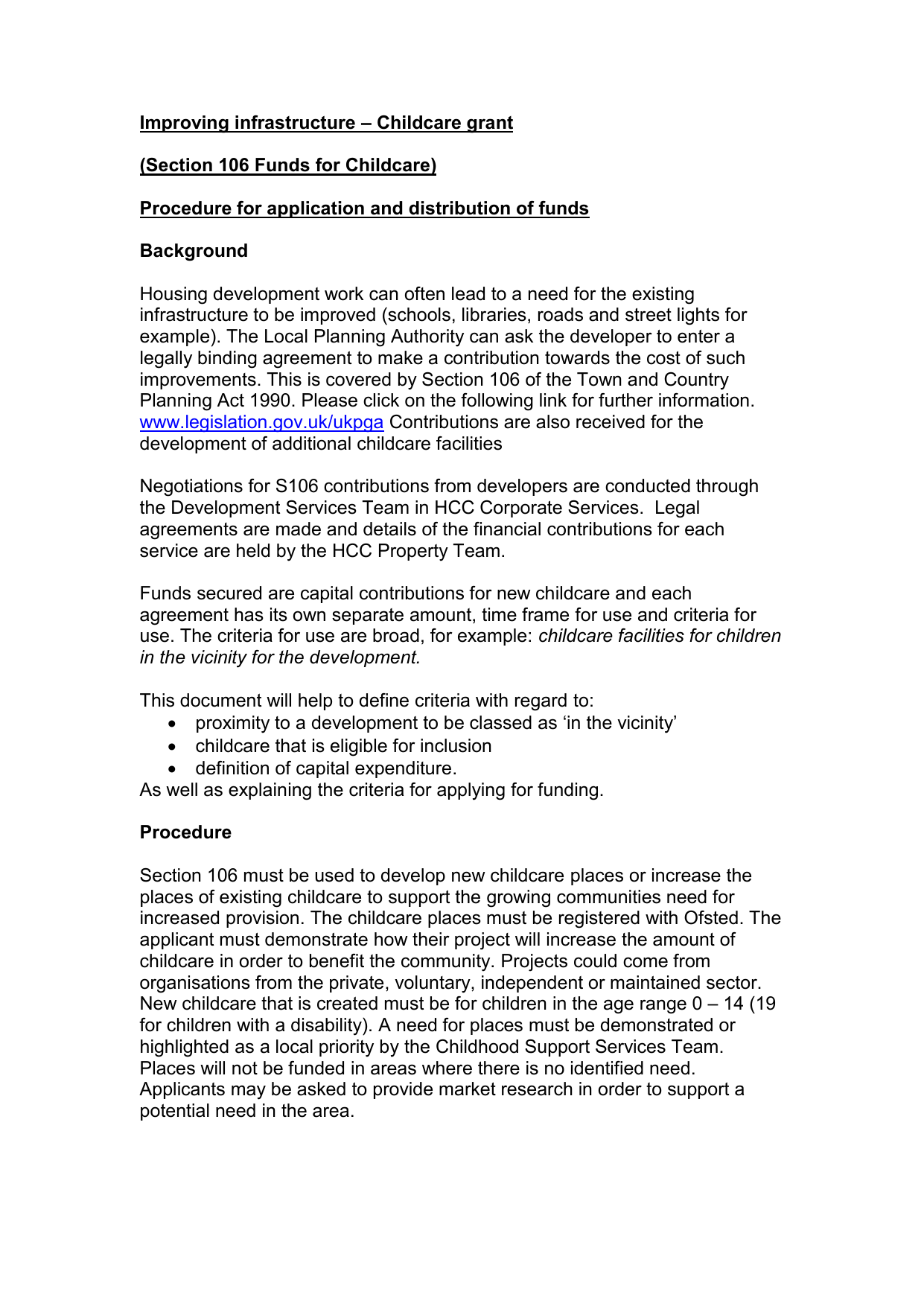 Section 106 Funding Guidance Hertfordshire County Council