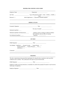 Respiratory Certification Form