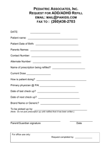 ADD/ADHD Refill Form - Pediatric Associates, Inc.