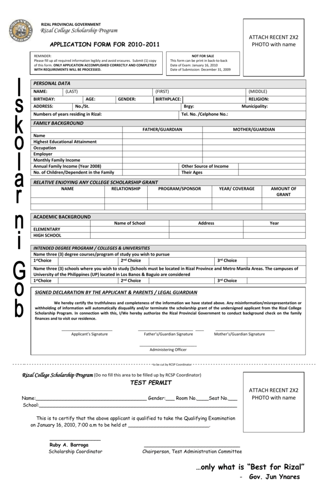 Rizal college scholarship program application form thecheapjerseys Gallery