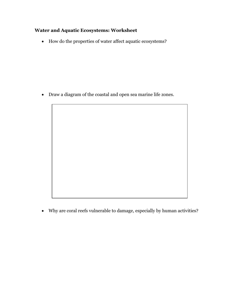 worksheet Ecosystems Worksheet water and aquatic ecosystems worksheet