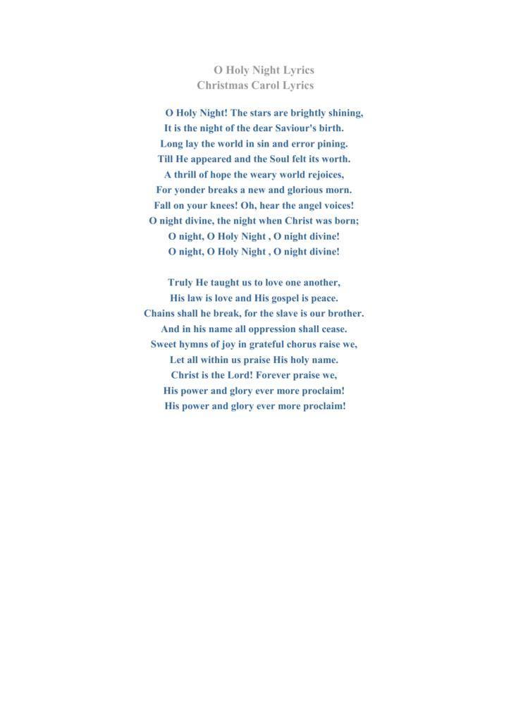 O Holy Night Lyrics Christmas Carol Lyrics