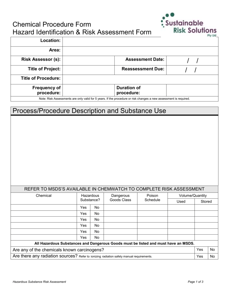 Ohsw Chemical Risk Assessment Form