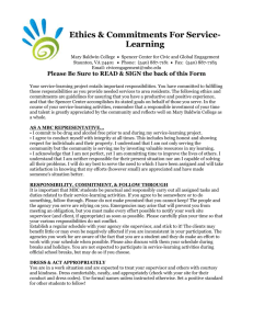 Ethics & Commitments For Service-Learning