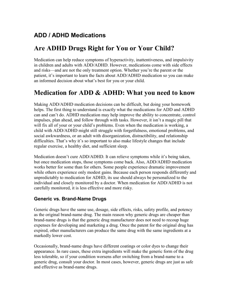 Will Adhd Medication Change My Childs >> Add Adhd Medications