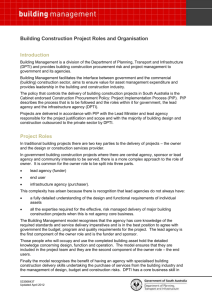 Project Roles - Department of Planning, Transport and Infrastructure