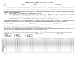 CARROLL COUNTY PUBLIC SCHOOLS MEDICATION FORM
