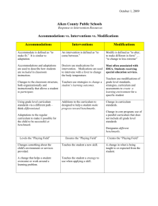 Accommodations/Interventions/Modifications chart