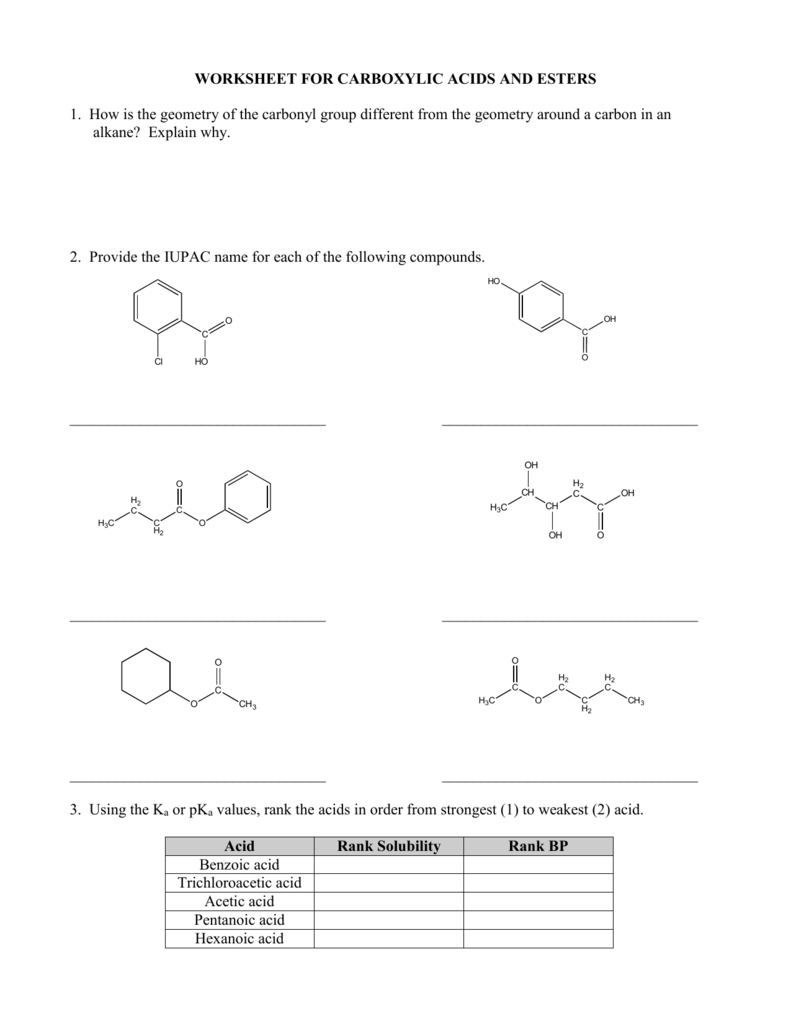 WORKSHEET FOR CARBOXYLIC ACIDS AND ESTERS