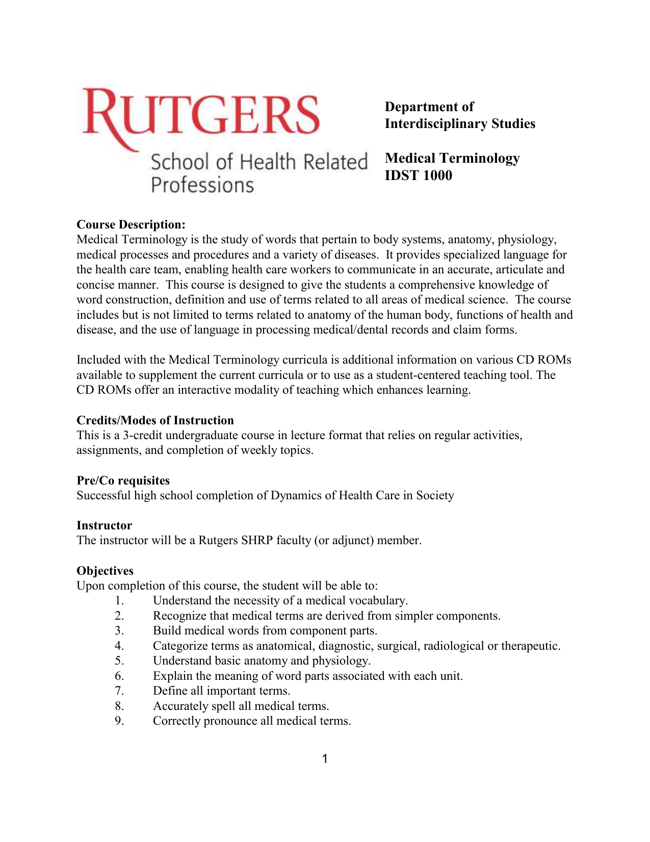 Ru Word Medical Terminology Rutgers School Of Health Related