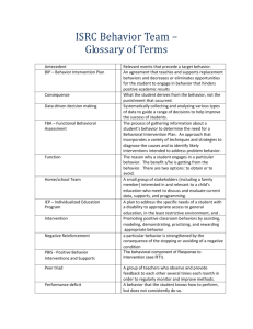 New Behavior Team Member Orientation Glossary