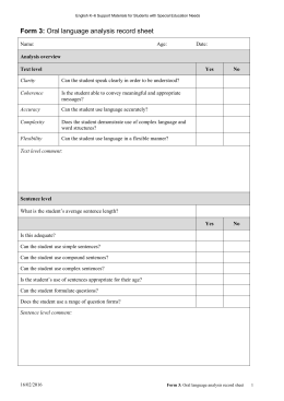 Form 3: Oral language analysis record sheet - K