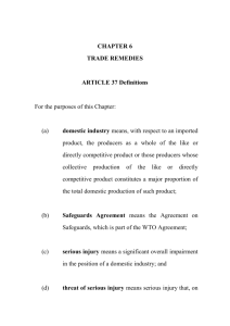 CHAPTER 6 TRADE REMEDIES ARTICLE 37 Definitions For the