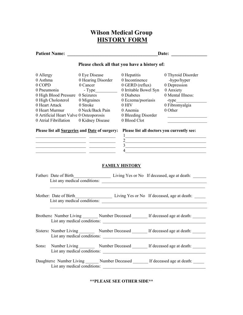 Wilson Medical Group Medical History Form