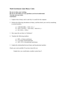 Math Enrichment: Quiz Binary Codes