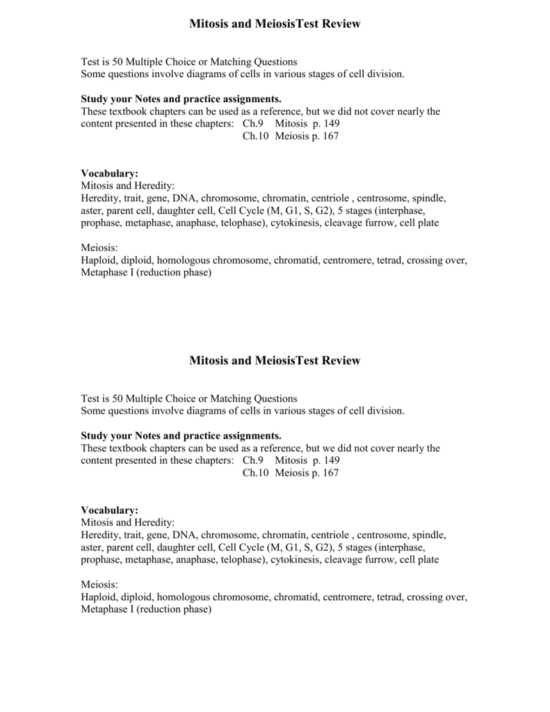 Mitosis Meiosis and Mendelian Genetics Test Review – Meiosis Matching Worksheet