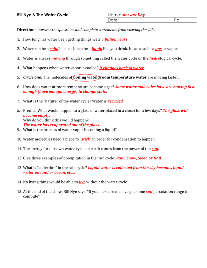 bill nye water cycle worksheet Termolak – The Water Cycle Worksheet Answers