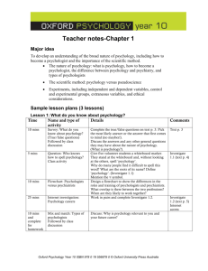Teacher notes‑Chapter 1 Major idea To develop an understanding