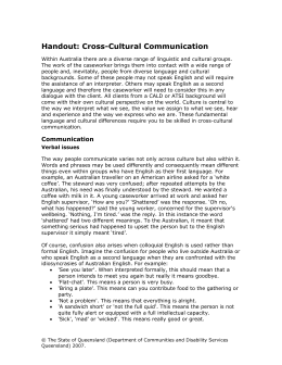 Handout 7: Cross Cultural Communication